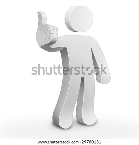 3d character man showing thumbs up