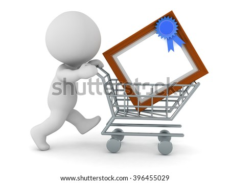 3D character pushing a shopping cart with a large diploma frame ...