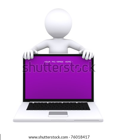 3D character showing laptop with empty screen. Advertising concept