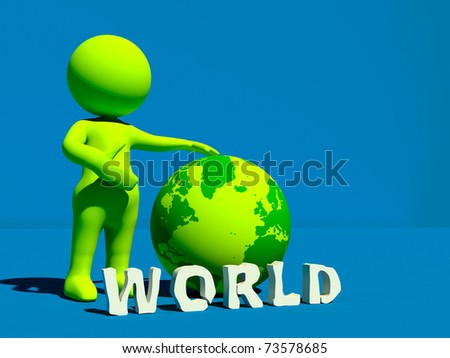 3d character showing power of world
