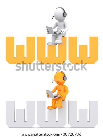 3d character sitting on WWW domain sign. Isolated on white