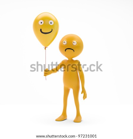3D character smiley holding balloons