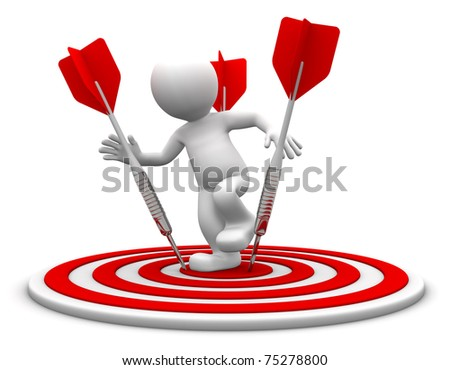3d character standing on the archery board. Conceptual business illustration. Isolated on white