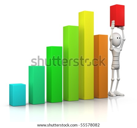 3d character stands in a bar chart and raises the last bar above all others - 3d illustration/render