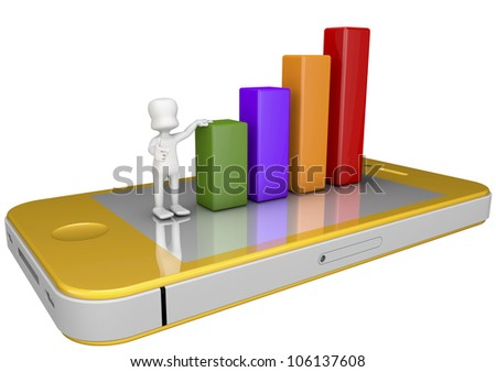 3d character supported by statistical bars placed on top of a mobile phone