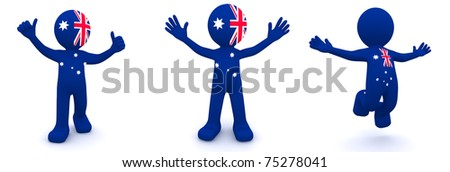 3d character textured with flag of Australia isolated on white background