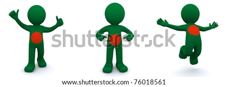 3d character textured with flag of Bangladesh isolated on white background