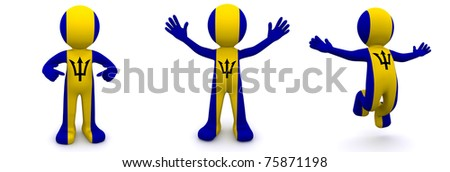 3d character textured with flag of Barbados isolated on white background