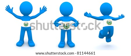 3d character textured with flag of El Salvador isolated on white background