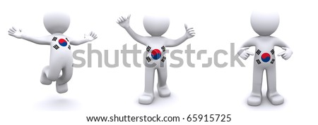 3d character textured with flag of South Korea isolated on white background