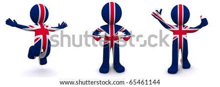 3d character textured with flag of UK isolated on white background