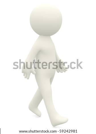 3D character walking - isolated over a white background