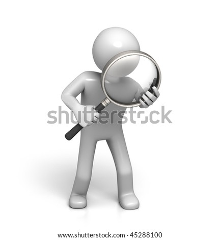 3D Character with Magnifying Glass (isolated on White Background)