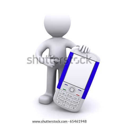 3d character with mobile phone, Isolated