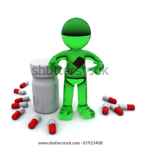 3d character with pill inside stomach. Isolated