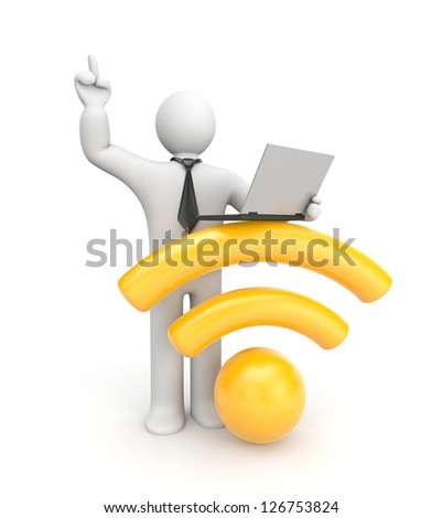 3d character working on laptop. Wifi metaphor