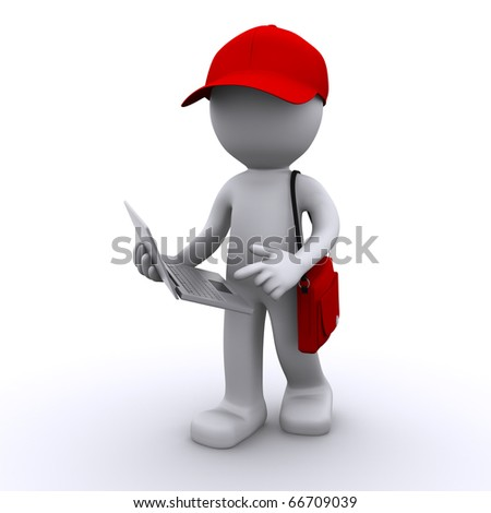 3d character writing in notepad - stock photo
