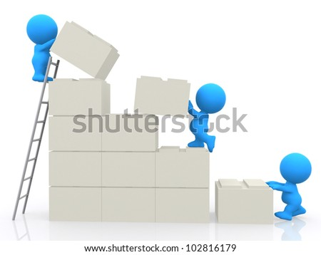 3D characters building a wall assembling blocks - isolated over white
