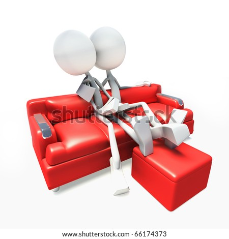 3D characters watching television in sofa.
