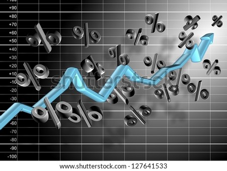 3d chart arrow and percentage symbols hovering in the air in front of black and white graph / Chart and percentage - stock photo