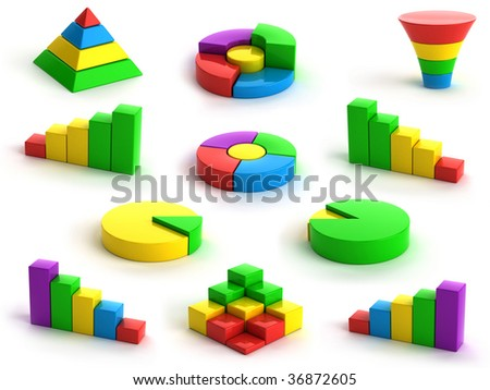 3d charts and graphs on white background