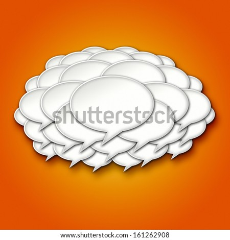 3D Chat Bubble Storm Cloud on Orange Gradient Background