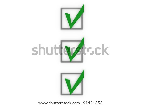 3d check box green isolated on white background - stock photo