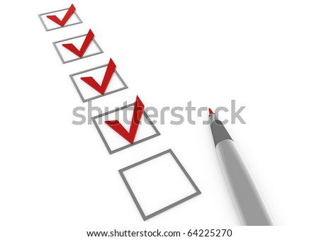 3d check box red pen isolated on white background