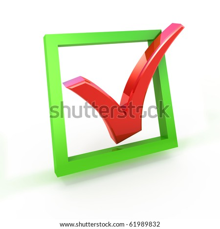 3d check box with check mark isolated on white