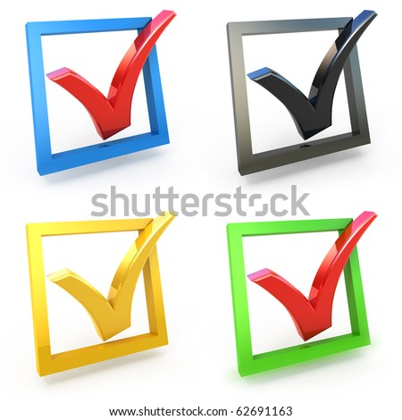 3d check box with check mark set isolated on white