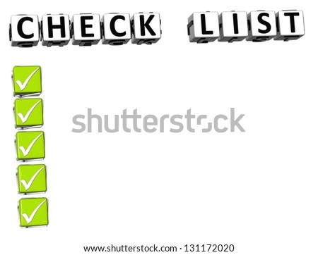 3D Check List Button Click Here Block Text over white background