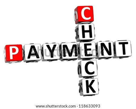 3D Check Payment Crossword on white background