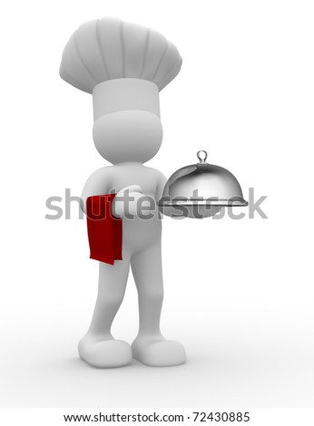 3d chef serving -  this is a 3d render illustration