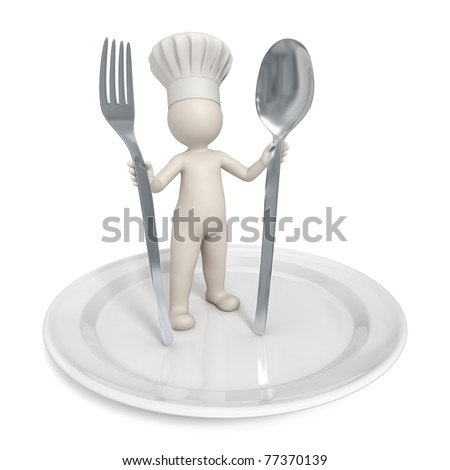 3d chef standing on a saucer with fork and spoon - Restaurant icon - Isolated