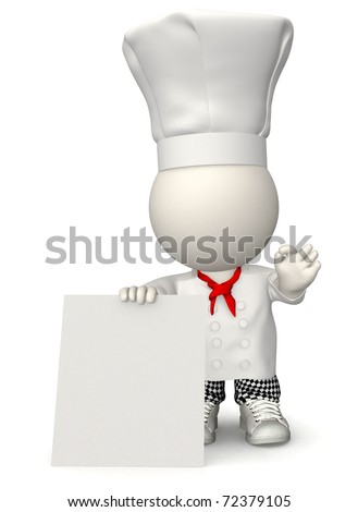 3D Chef with a banner to put the menu - isolated over white
