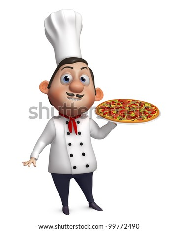 3d chef with a pizza