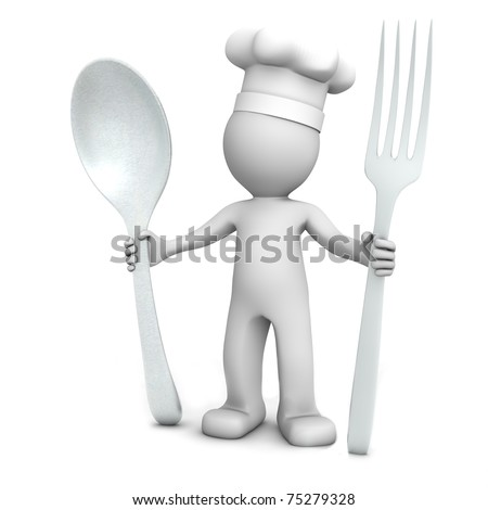 3D chef with spoon and fork on white background - stock photo