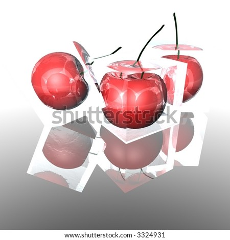 3D cherries or apples in ice cubes with a white background and reflective floor.