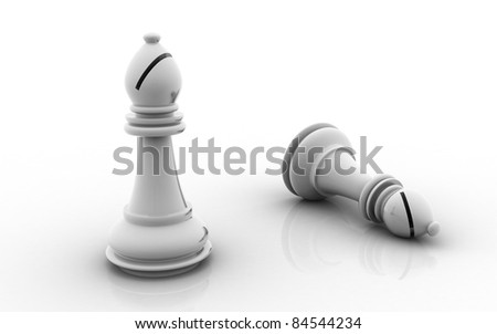 3D chess bishop isolated on a white background