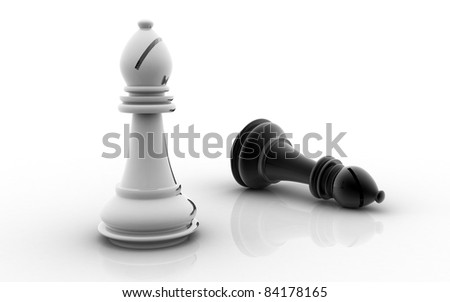 3D chess bishop on a white background