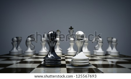 3d Chess concept background. High resolution