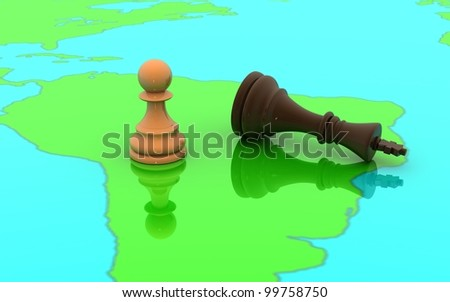 3D chess pawn and king concept on a world map