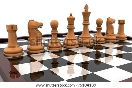 3d chess pieces on chess board
