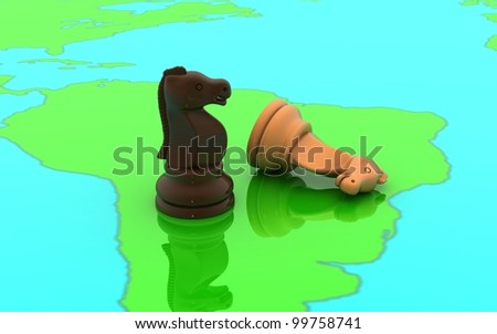 3D chess two horse concept on a world map