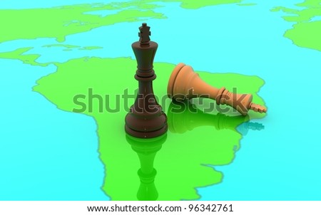 3D chess two king concept on a world map