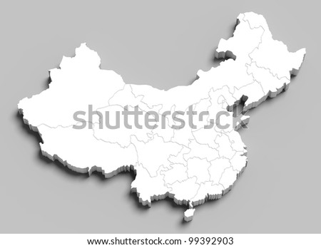 3d China white map on grey isolated