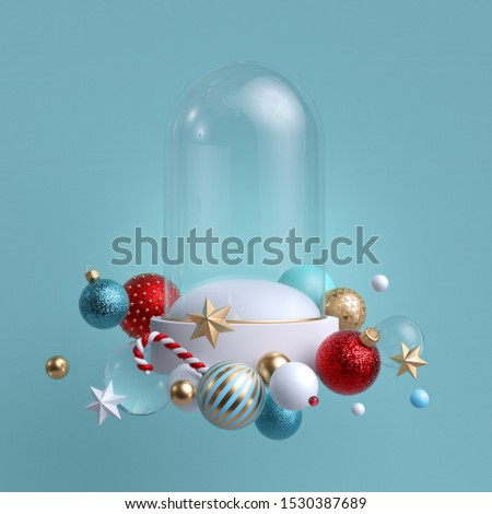 3d Christmas background. Glass flask decorated with festive ornaments. Snow ball blank mockup. Glass balls, crystal stars, candy cane.