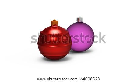 3d.christmas balls on white background