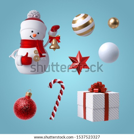 3d Christmas clip art. Set of design elements, isolated on blue background. Snowman toy holding bell, gift box, candy cane, crystal star, red and gold glass balls ornaments.
