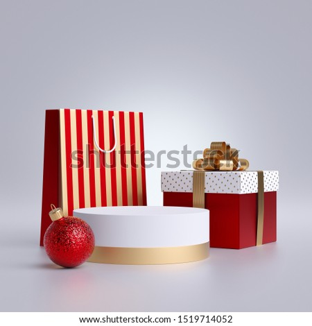 3d Christmas commercial mockup. Shopping bag, round podium and wrapped gift box, isolated on white background. Blank pedestal, empty space. Cylinder platform. Product display for advertisement.